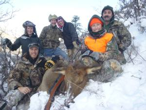 The entire family hiked to get the elk.